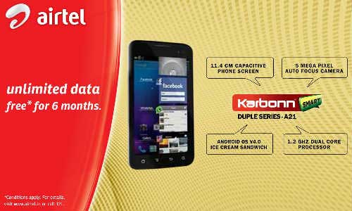 Karbonn Mobiles, Airtel Join hands, Offer A9+, A15, A21 and A30 Buyers 2G and 3G bundled data offer