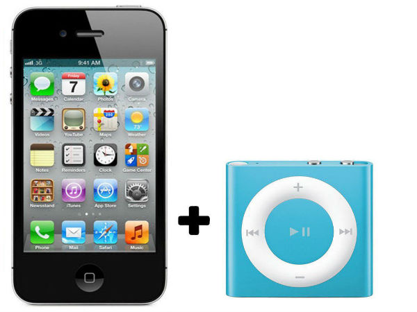 Apple iPhone 4S+ Apple iPod Shuffle 2GB (White) (8 GB)