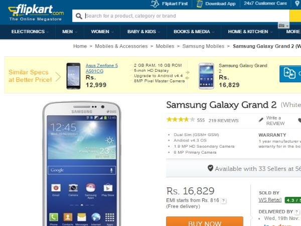 Flipkart: ( Samsung Galaxy Grand 2)