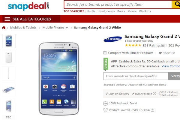 Snapdeal : ( Samsung Galaxy Grand 2)