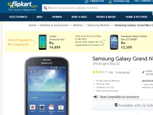 Flipkart: ( Samsung Galaxy Grand Neo)