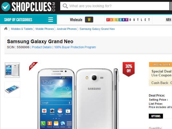 Shopclues : (Samsung Galaxy Grand Neo)