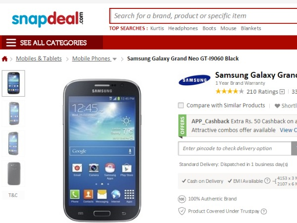 Snapdeal : ( Samsung Galaxy Grand Neo)