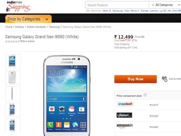 Shopping.Indiatimes : ( Samsung Galaxy Grand Neo)