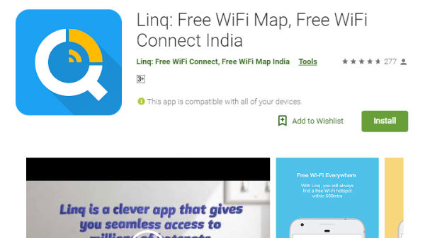 Linq: Free WiFi Map, Free WiFi Connect India