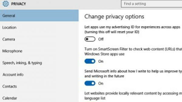 Changing privacy and Wi-Fi Sense settings